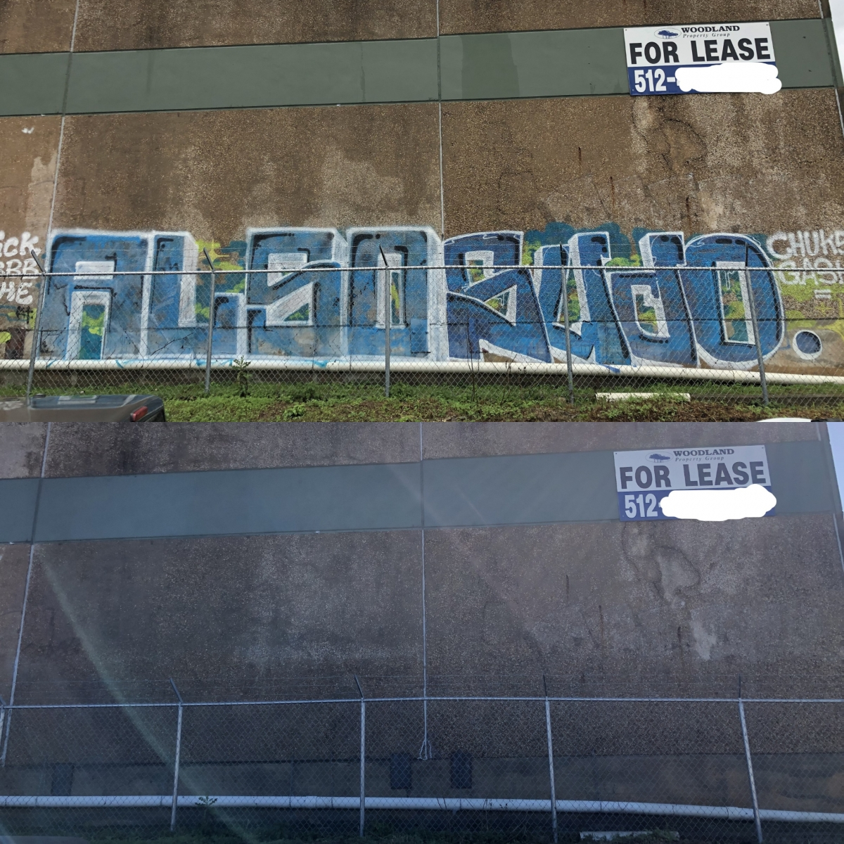 400sq ft tag graffiti removal service before after